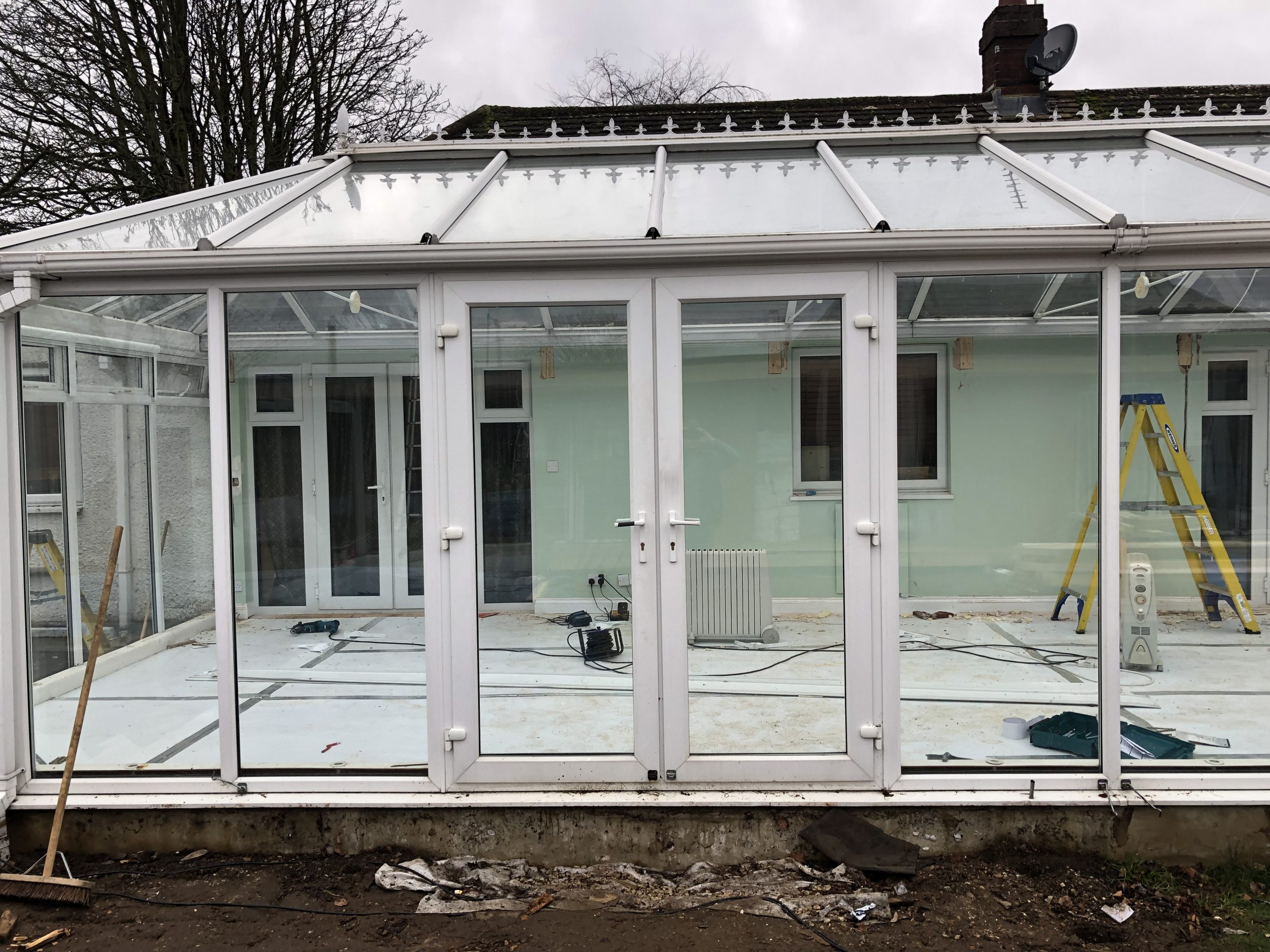 Large Conservatory Roof Replacement with Decking Old Glass Roof