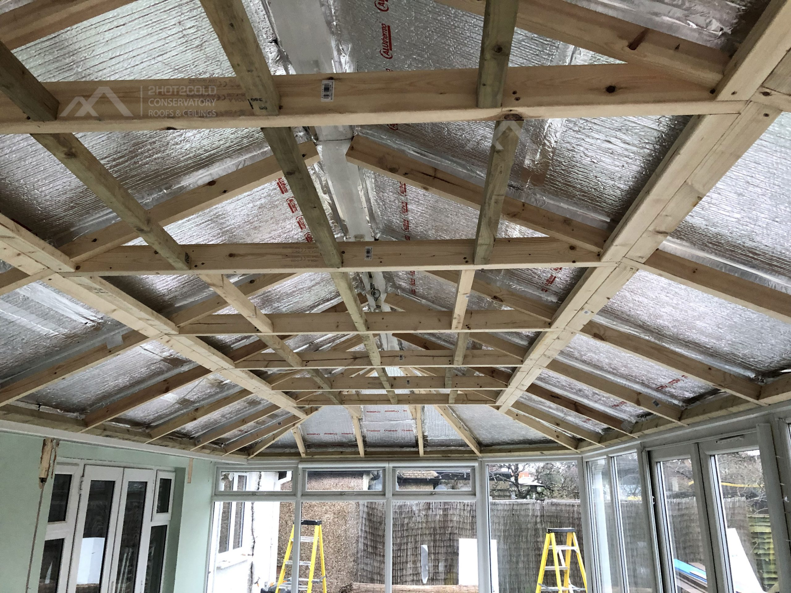 Large Conservatory Roof Replacement with Decking Wood Joists